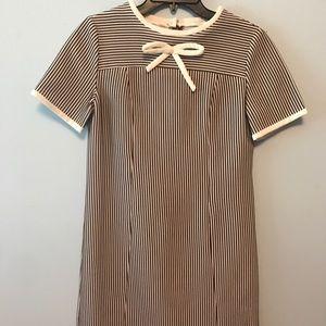 Adorable Brown Striped Mini Dress